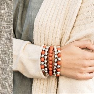 Hold 4 T Five Orange and Silver Stretch Bracelets